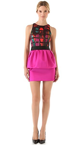 Milly Graffiti Squares Peplum Dress