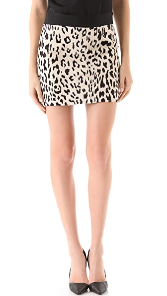 Milly Snow Leopard Mini Skirt