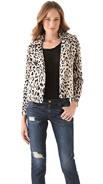 Milly Faux Fur Leopard Jacket