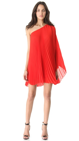 Milly Nicola Pleated One Shoulder Dress