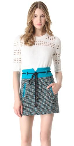 Milly Pointelle Stripe Sweater