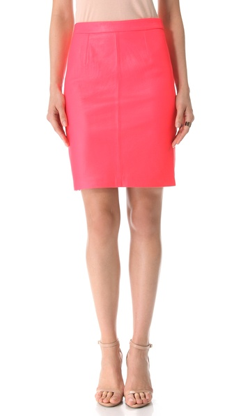 Milly Leather Pencil Skirt