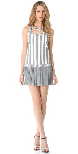 Shop Milly Sarley Pleat Stripe Dress and Milly online - Apparel, Womens, Dresses, Day_to_Night,  online Store
