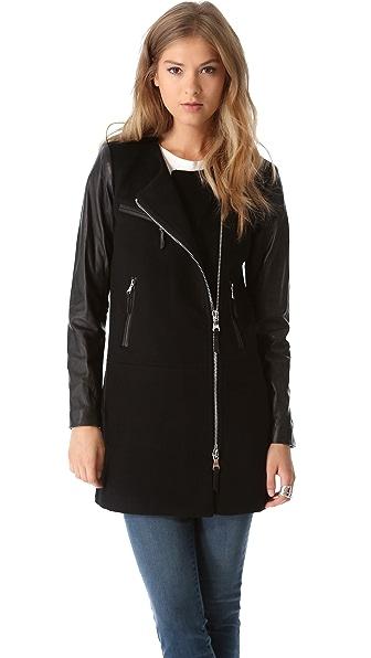Milly Chloe Leather Sleeve Coat
