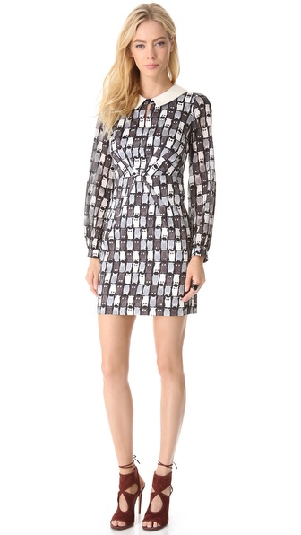 Milly Hayden Leather Collar Dress