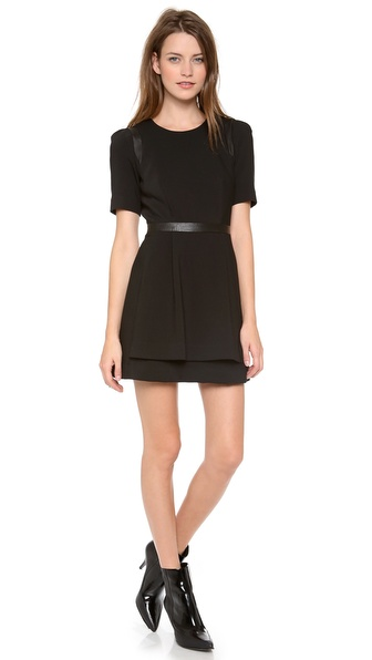 Milly Leather Detail Dress