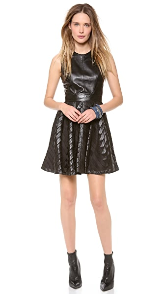 Milly Chevron Leather Circle Dress