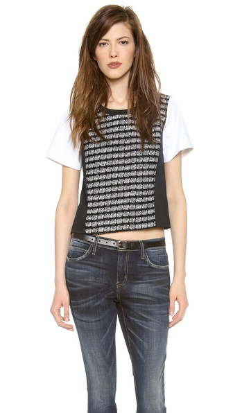 Milly Paneled Tweed Tee