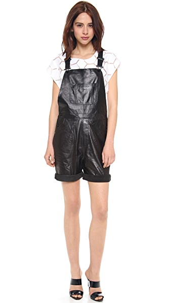 Milly Leather Short Overalls