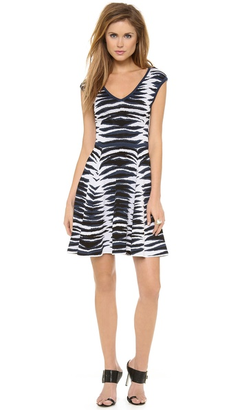 Milly Ikat Jacquard Flare Dress