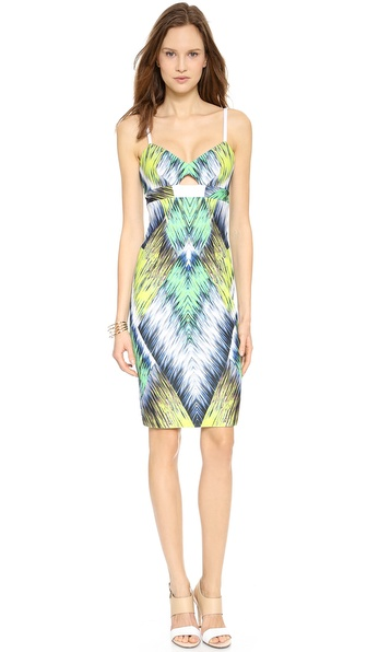 Shop Milly online and buy Milly Cutout Sheath Dress Multi - This Milly dress makes a bright, cheerful impression in bold zigzag streaks. Boning structures the sides, and a triangle cutout shows a peek of skin. Back slit. Exposed back zip. Spaghetti straps. Lined. Fabric: Smooth, double knit jersey. Shell: 94% polyester/6% elastane. Lining: 100% polyester. Dry clean. Made in the USA. Measurements Length: 38in / 96.5cm, from shoulder Measurements from size 2. Available sizes: 2,4,8,12