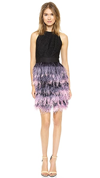 Milly Blair Feather Dress - Blush