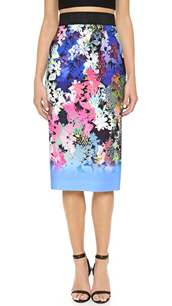 Milly Ombre Floral Print Midi Skirt - Multi