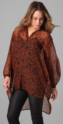MINKPINK Cheet Sheet Oversized Blouse