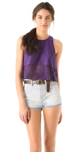 MINKPINK Petal Punch Faux Suede Tank