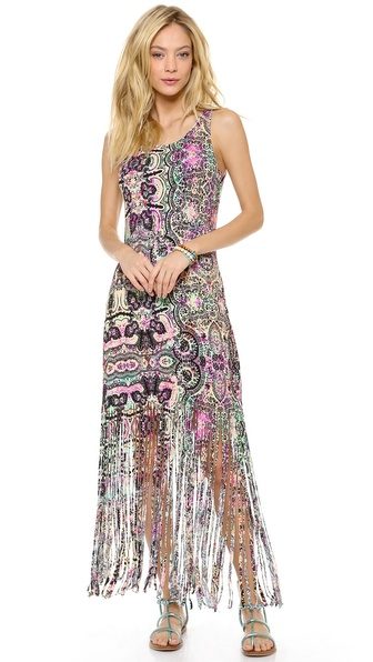 MINKPINK Ashram Fringed Maxi Cover Up Dress