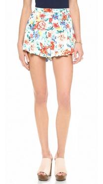 MINKPINK Flower Crush Box Pleat Shorts