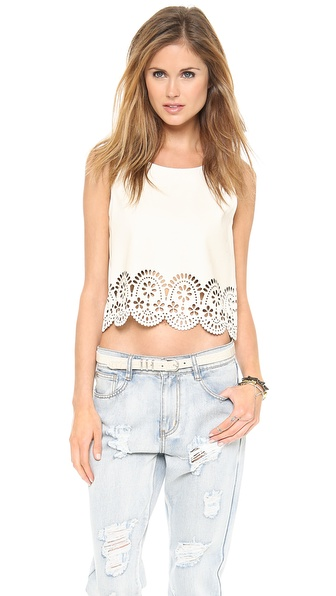 MINKPINK Stepping Up Laser Cut Top