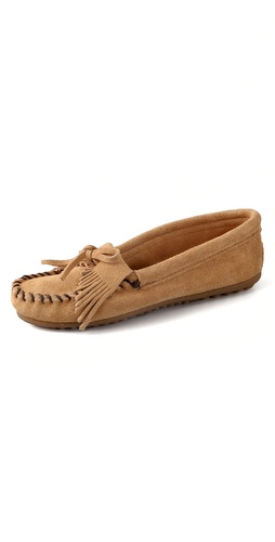 Minnetonka Kiltie Suede Moccasin Flats
