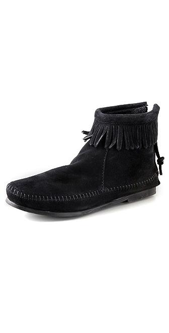 Minnetonka Back Zipper Booties with Fringe