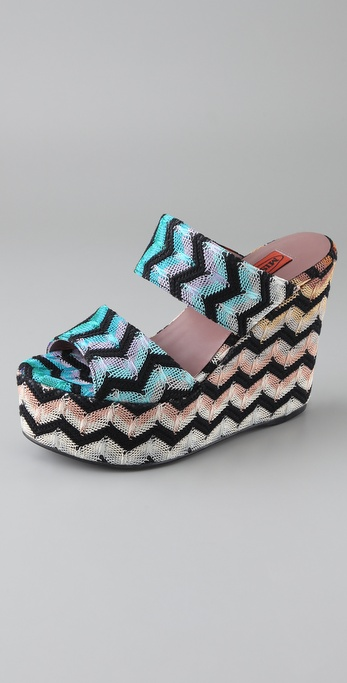 Missoni Zigzag Platform Wedge Sandals