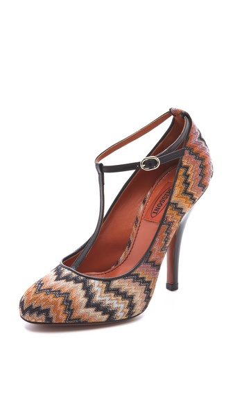 Missoni Zigzag T Strap Pumps