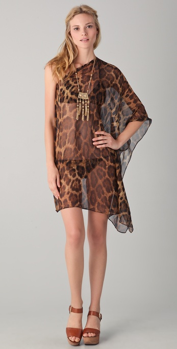 Michael Kors Collection Singita Leopard Asymmetrical Caftan