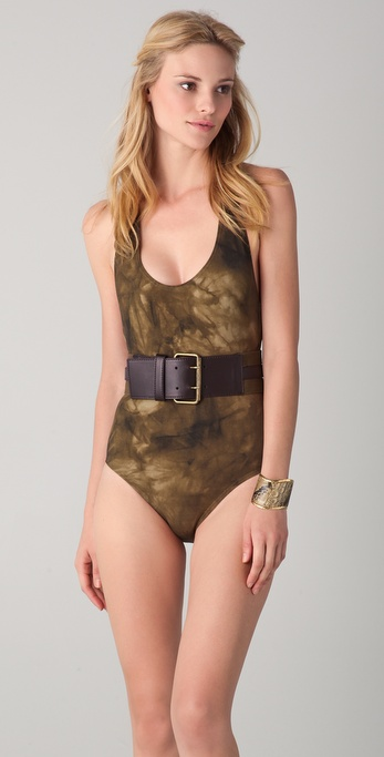Michael Kors Collection Lebombo Tie Dye Belted Maillot