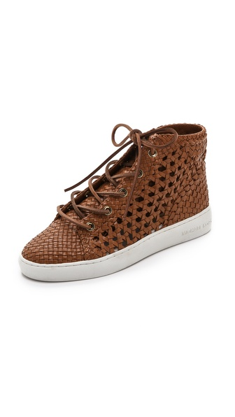 Michael Kors Collection Verna Woven High Top Sneakers - Luggage