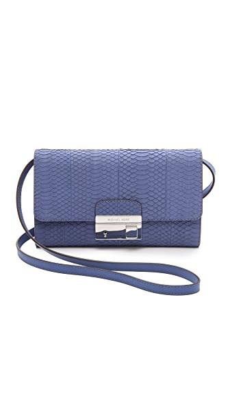 Michael Kors Collection Gia Snakeskin Clutch with Lock