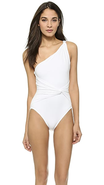 Michael Kors Collection Draped Solids One Shoulder Twist Maillot