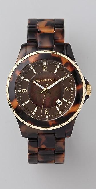 Michael Kors Round Oversized Tortoiseshell Watch