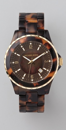 Michael Kors Round Oversized Tortoiseshell Watch