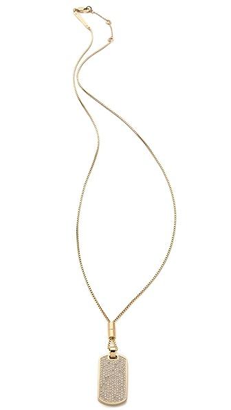 Michael Kors Pave & Tortoise Dog Tag Necklace