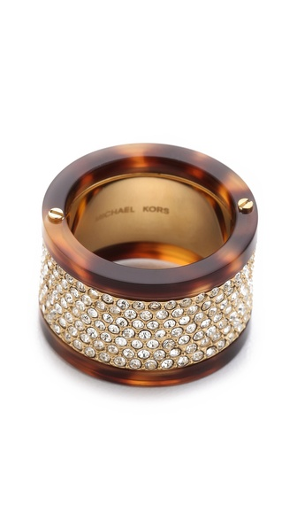 Michael Kors Pave Tortoise Barrel Ring