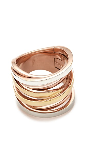 Michael Kors Brilliance Tri-Tone Intertwined Ring