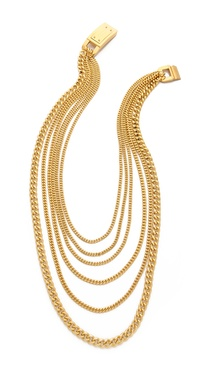 Michael Kors Multi Chain Plaque Necklace