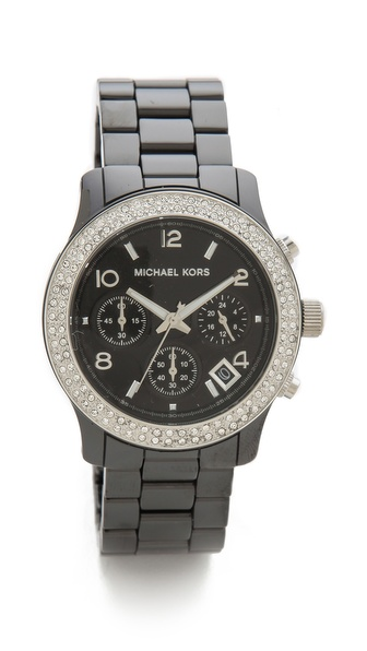Michael Kors Pave Runway Ceramic Watch