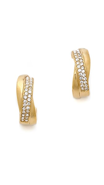 Michael Kors Pave Small Semi Hoop Earrings