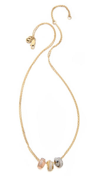 Michael Kors Pave 3 Ring Double Chain Necklace