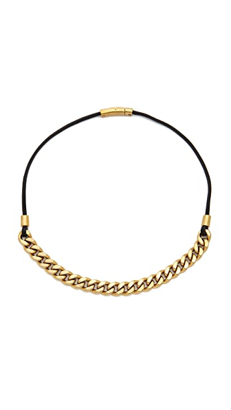 Michael Kors Long Leather Curb Chain Necklace
