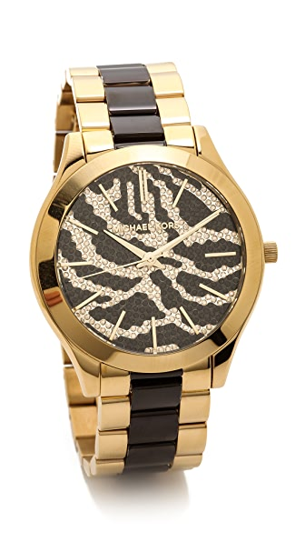 Michael Kors Midnight Safari Slim Runway Watch