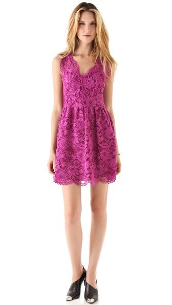 Madison Marcus V Neck Lace Dress