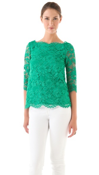 Madison Marcus Lace 3/4 Sleeve Top