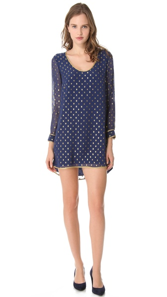 Madison Marcus Shimmer Back Keyhole L/S Dress