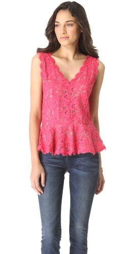 Shop Madison Marcus Lace Sleeveless Peplum Top - Madison Marcus online - Apparel,Womens,Tops,Blouse, at Lilychic Australian Clothes Online Store