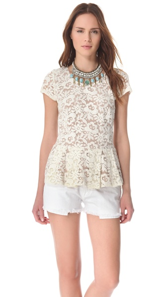 Madison Marcus Lace Peplum Tee from shopbop.com