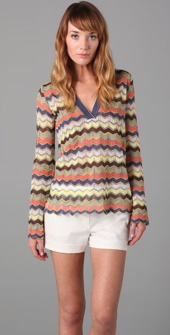 M Missoni Long Sleeve V Neck Top