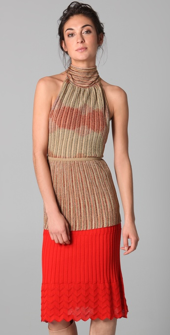 M Missoni Metallic Stripe Tie Neck Top
