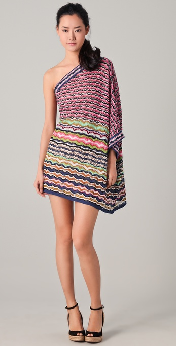 M Missoni Lace Stripe One Shoulder Dress